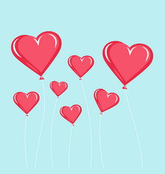 red balloons in the form of heart vector image