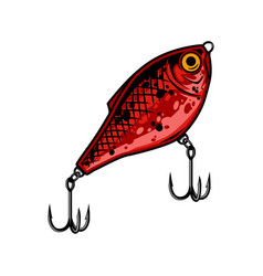 Red fishing lure vintage template vector