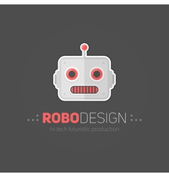 Robot head logotype in flat-style vector image