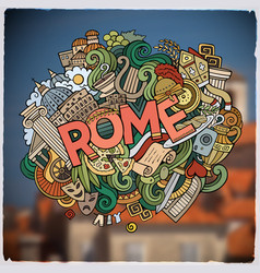 rome hand lettering and doodles elements vector image