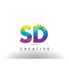 Sd s d colorful letter origami triangles design vector
