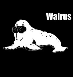 Sea walrus an animal of the north pole coloring vector