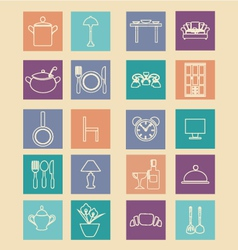 Set of home related icons elements- vector image