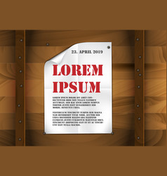sheet of white paper on a wooden background vector image