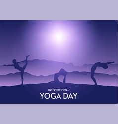 silhouettes females in yoga poses in night vector image