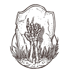 Skeleton Hand Rising from the Ground vector image