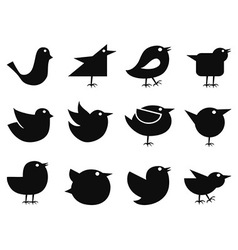 social bird icons vector image