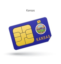 State of kansas phone sim card with flag vector