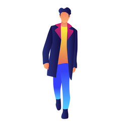 stylish handsome male model in fashion coat vector image