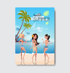 summer vacation dancing woman relax landscape vector image