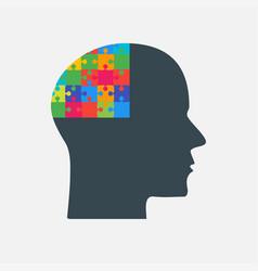 the black puzzle piece head - brain vector image