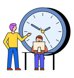 time management and manager with laptop at work vector image