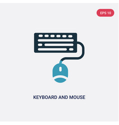 Two color keyboard and mouse icon from vector