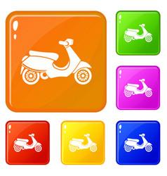 Vespa scooter icons set color vector