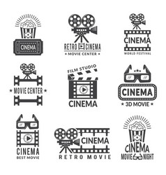 Video labels set cinema production badges in vector