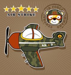 Warplane cartoon with cute pilot vector