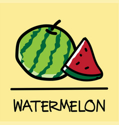 Watermelon hand-drawn style vector