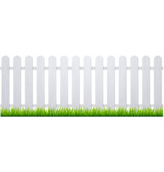 White fence with grass wooden picket background vector