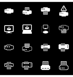 white printer icon set vector image