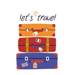 with retro suitcases trendy concept for travel vector image