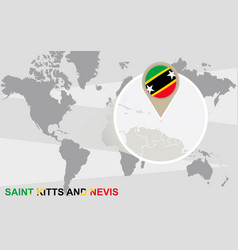 World map with magnified saint kitts and nevis vector