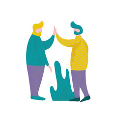young men giving five to each other human vector image
