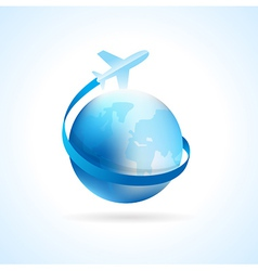 airplane flight air fly travel takeoff blue globe vector image vector image
