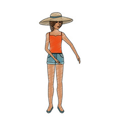 color pencil full body woman with beach hat and vector image