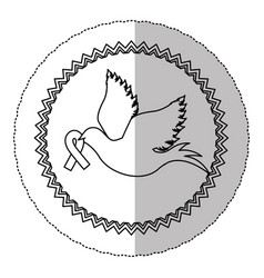 contour dove with breast cancer ribbon in the peak vector image