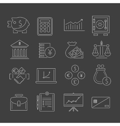 Finance icons set outline vector image vector image