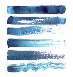 set of blue navy brush strokes vector image vector image