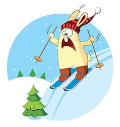 Cartoon bunny goes skiing vector image