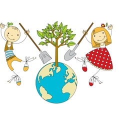 Children Plant for Planet vector image