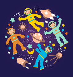 Children s space party poster vector