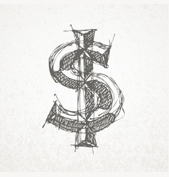 dollar sign hand drawn sketch on grunge vector image