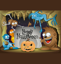 halloween pumpkin and monsters vector image vector image