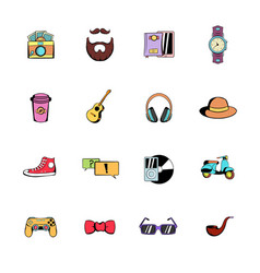 hipster style comics icons set cartoon vector image vector image