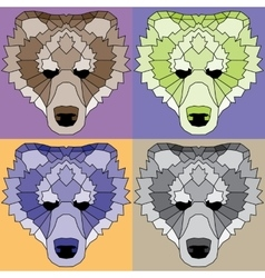 Low poly lined bears set vector image vector image
