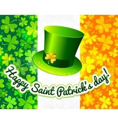 Saint Patricks hat on Irish flag greeting card vector image