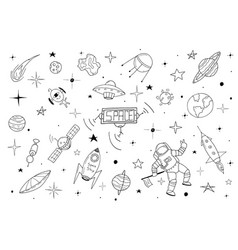 space set in doodle style vector image
