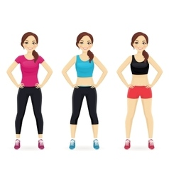 Set of young woman in different sportswear vector image