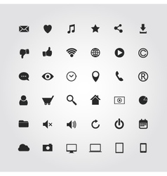 36 web media icons set vector image vector image