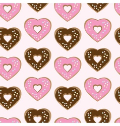 Assorted heart shaped doughnuts vector image vector image