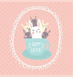 bunnies in a cup vector image vector image