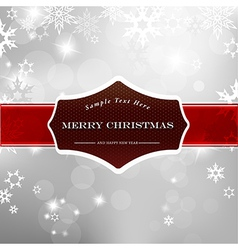 Happy Christmas on silver background with snow vector image