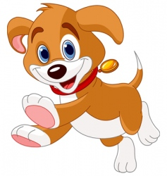 running funny puppy vector image vector image