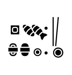 sushi mix icon black sign on vector image