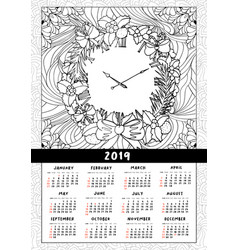 2019 wall calendar with wreath and clock vector
