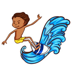 A boy enjoying the waves vector