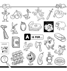 a is for educational game for kids color book vector image
